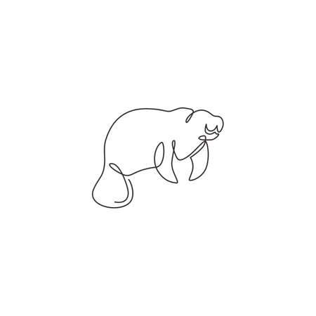 One single line drawing of adorable manatee for foundation  identity. Herbivorous marine mammals mascot concept for sea world show icon. Modern continuous line draw design vector illustration Vectores