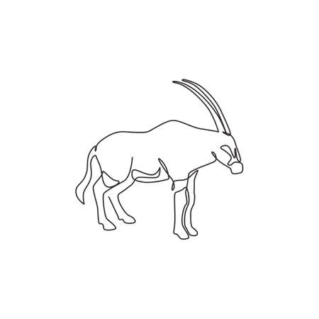 Single continuous line drawing of dashing oryx for company identity. Antelope mammal mascot concept for national conservation park icon. Modern one line draw design vector graphic illustration