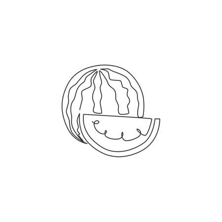 Single one line drawing of sliced and whole healthy organic watermelon for orchard identity. Fresh fruitage concept for fruit garden icon. Modern continuous line draw design vector illustration