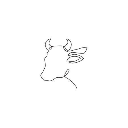 One continuous line drawing of sturdy cow head for agriculture  identity. Mammal animal mascot concept for farming icon. Single line graphic draw design vector illustration Çizim
