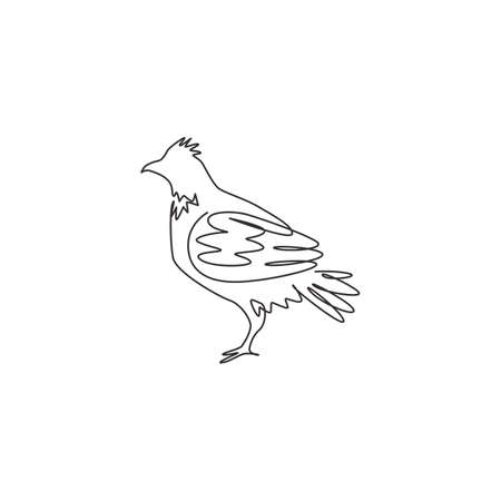 Single one line drawing of adorable grouse bird for foundation  identity. Shooting bird syndicate mascot concept for tradition icon. Modern continuous line draw graphic design vector illustration