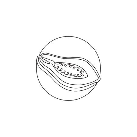 Single one line drawing of half sliced healthy organic papaya for orchard identity. Fresh fruitage concept for fruit garden icon. Modern continuous line draw graphic design vector illustration