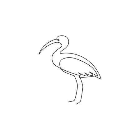 One continuous line drawing of cute ibis for company  identity. Long legged wading bird mascot concept for national zoo icon. Modern single line draw design vector graphic illustration