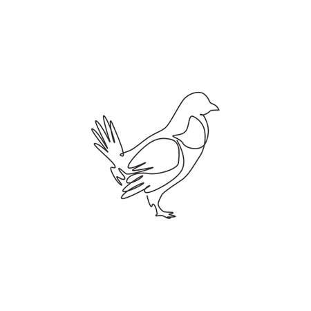 One continuous line drawing of funny grouse bird for organisation  identity. Driven grouse shooting mascot concept for game bird icon. Modern single line draw design graphic vector illustration