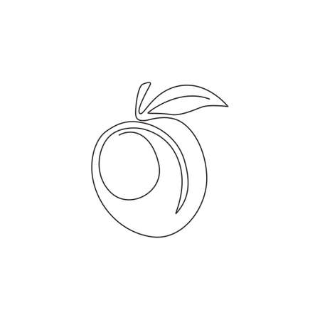 One single line drawing of whole healthy organic apricot for orchard identity. Fresh fruitage concept for fruit garden icon. Modern continuous line draw design vector graphic illustration