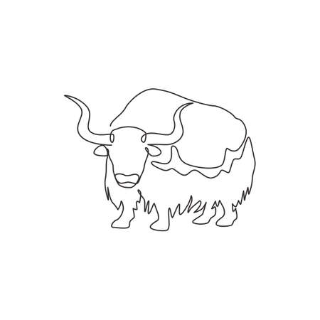 Single one line drawing of gallant yak for company identity. Livestock ox mammal mascot concept for national zoo icon. Modern continuous line draw design graphic vector illustration
