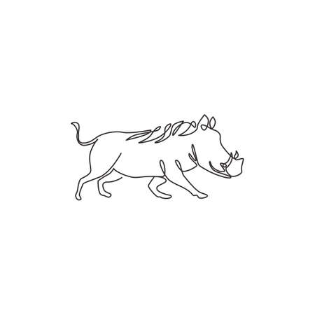 Single continuous line drawing of wild common warthog for company identity. Saharan Africa pig mascot concept for national conservation park icon. Modern one line draw design vector illustration Vecteurs