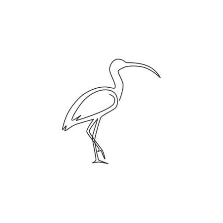 Single continuous line drawing of elegant ibis bird for organisation  identity. University mascot concept for education institution icon. Modern one line draw design vector graphic illustration 向量圖像
