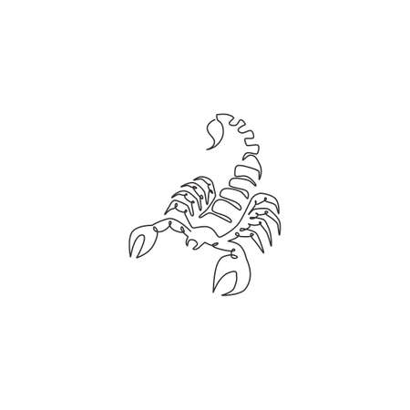 Single continuous line drawing of deadly scorpion for company  identity. Lethal arthropod mascot concept for martial art club icon. One line draw graphic design vector illustration Illusztráció