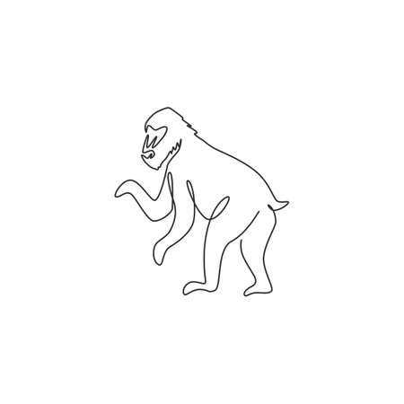 One continuous line drawing of cute mandrill for company  identity. Big exotic monkey mascot concept for national zoo icon. Modern single line draw design graphic vector illustration Illustration