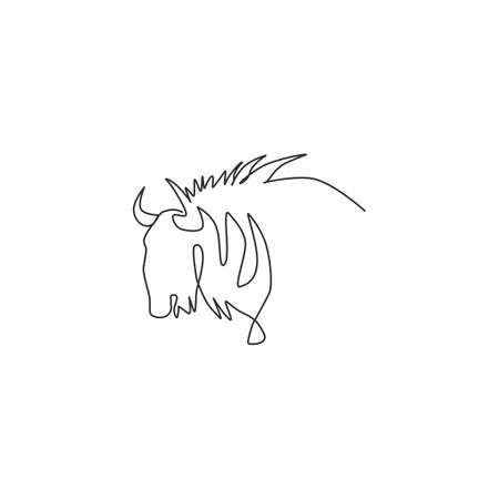 One continuous line drawing of stout wildebeest head for company identity. Big gnu mammal mascot concept for national conservation park icon. Modern single line draw design vector illustration