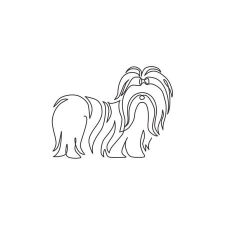 One continuous line drawing of cute shih tzu dog for pet salon  identity. Purebred dog mascot concept for pedigree friendly pet icon. Modern single line draw design vector graphic illustration