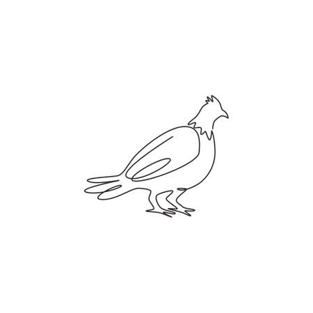 Single continuous line drawing of cute grouse bird for company identity. Game bird festival mascot concept for United Kingdom culture icon. Modern one line draw design vector graphic illustration Vektorové ilustrace