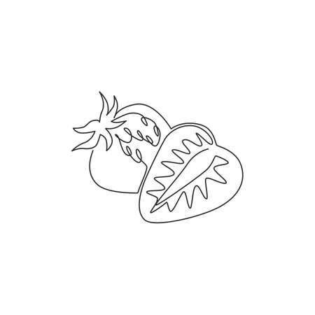 Single one line drawing sliced healthy organic strawberry for orchard identity. Fresh berry fruitage concept for fruit garden icon. Modern continuous line draw graphic design vector illustration