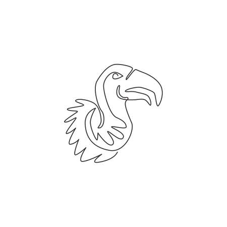 One single line drawing of large vulture for zoo  identity. Scavenging bird of prey mascot concept for national conservation park icon. Modern continuous line draw design vector illustration 版權商用圖片 - 155182700