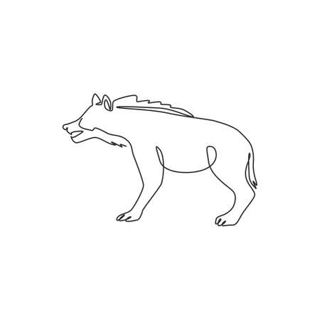 One continuous line drawing of fierce hyena for company identity. Predator animal mascot concept for national zoo icon. Modern single line draw graphic design vector illustration 向量圖像