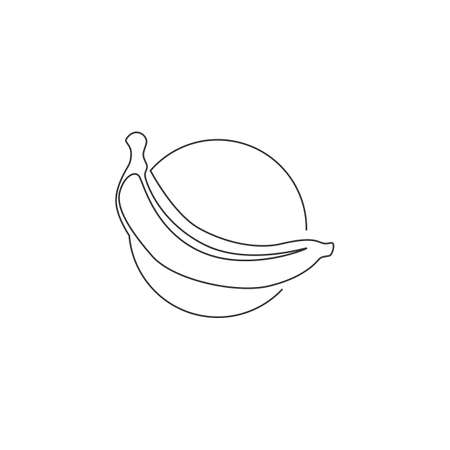 Single one line drawing of whole healthy organic banana for orchard identity. Fresh tropical fruitage concept for fruit garden icon. Modern continuous line draw design graphic vector illustration
