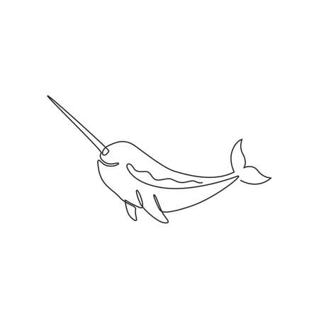 Single continuous line drawing of adorable narwhal for  identity. Narwhale animal mascot concept for magical creature icon. One line graphic draw design vector illustration