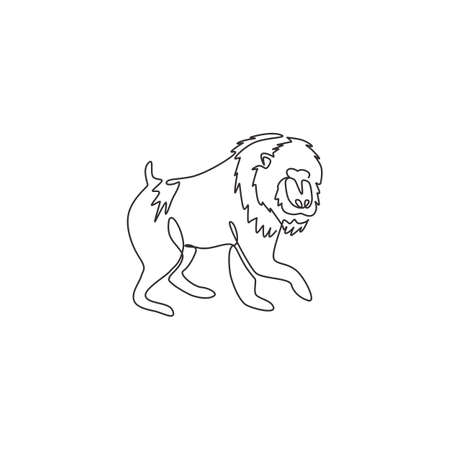 One single line drawing of adorable mandrill for company  identity. Big beauty primate mascot concept for national conservation park icon. Modern continuous line draw design vector illustration