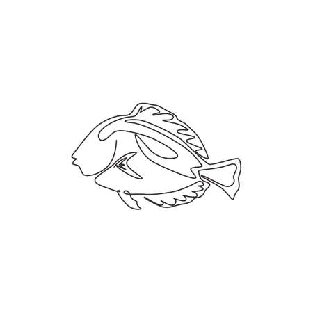 Single continuous line drawing of adorable blue tang fish for marine company  identity. exotic surgeonfish mascot concept for sea world show icon. Modern one line draw design vector illustration 矢量图像