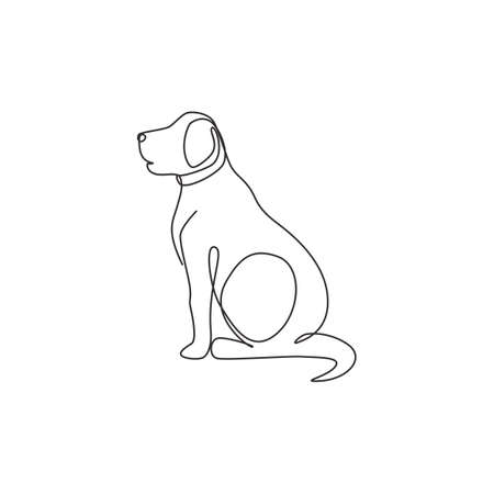 Single one line drawing of adorable labrador retriever dog for  identity. Purebred dog mascot concept for pedigree friendly pet icon. Modern continuous one line draw design vector illustration