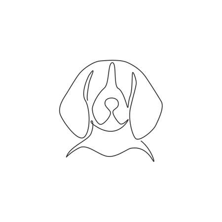 Single continuous line drawing of adorable beagle dog head for company  identity. Purebred dog mascot concept for pedigree friendly pet icon. Modern one line draw design vector illustration