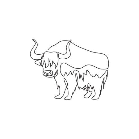 Single continuous line drawing of gallant yak for  identity. Long haired domesticated bovid mascot concept for national conservation park icon. Modern one line draw design vector illustration