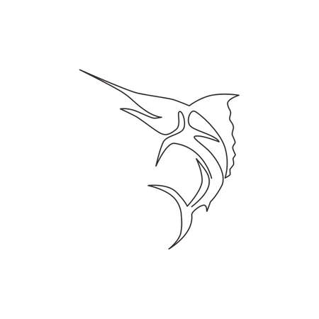 One single line drawing of giant marlin for fresh meat company  identity. Jumping swordfish mascot concept for seafood can icon. Continuous line draw graphic design vector illustration