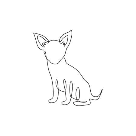 Single one line drawing of funny chihuahua dog for company  identity. Purebred dog mascot concept for pedigree friendly pet icon. Modern continuous one line draw design vector graphic illustration 矢量图像