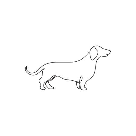 One continuous line drawing of adorable dachshund dog for  identity. Purebred dog mascot concept for pedigree friendly pet icon. Modern single line draw design vector graphic illustration 矢量图像