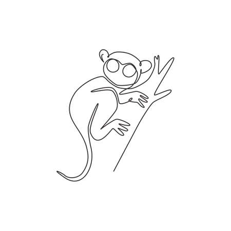 Single one line drawing of funny tarsier for foundation  identity. Nocturnal primate animal mascot concept for pet lover club icon. Modern continuous line draw design vector graphic illustration