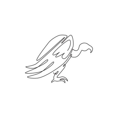One continuous line drawing of scary vulture for foundation  identity. Big bird mascot concept for bird conservation icon. Modern single line draw design vector illustration