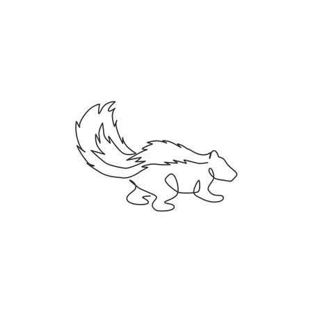 One single line drawing of adorable striped skunk for company  identity. Sprayer liquid with stink smell animal mascot concept for zoo icon. Modern continuous line draw design vector illustration 矢量图像