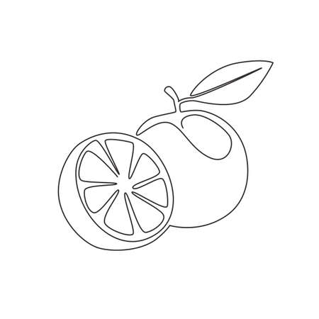 Single one line drawing sliced healthy organic orange for orchard  identity. Fresh tropical fruitage concept for fruit garden icon. Modern continuous line graphic draw design vector illustration