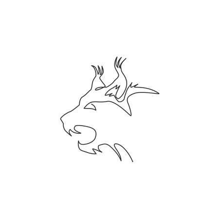 Single one line drawing of angry lynx cat head for company  identity. Big cat predator mascot concept for national zoo icon. Modern continuous line draw design vector graphic illustration