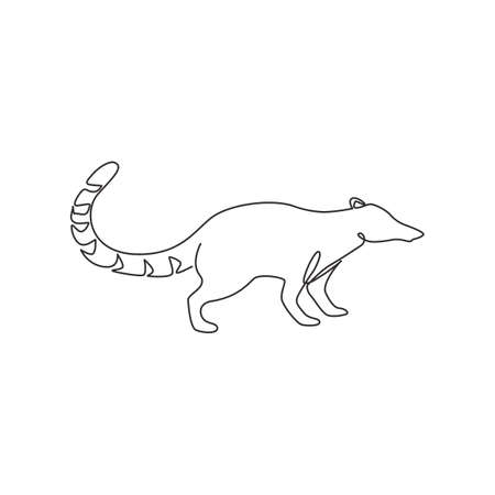 One continuous line drawing of cute coati for company  identity. Diurnal mammals mascot concept for national zoo icon. Modern single line draw design graphic vector illustration 矢量图像