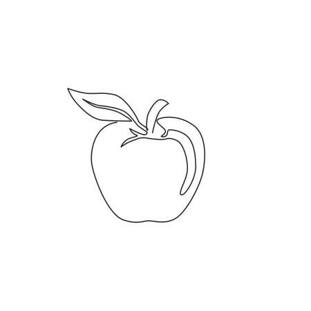 Single continuous line drawing of whole healthy organic apple for orchard  identity. Fresh summer fruitage concept for fruit garden icon. Modern one line graphic draw design vector illustration 矢量图像