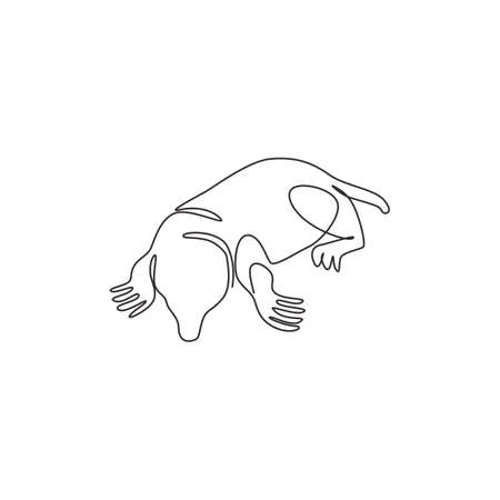Single continuous line drawing of adorable lawn mole for identity. Rodent small mammal animal mascot concept for pest control icon. Modern one line draw design graphic vector illustration