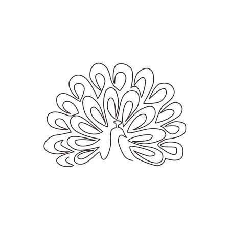 One single line drawing of beautiful peacock for company  identity. Big avian mascot concept for national park icon. Modern continuous line graphic draw design vector illustration 矢量图像