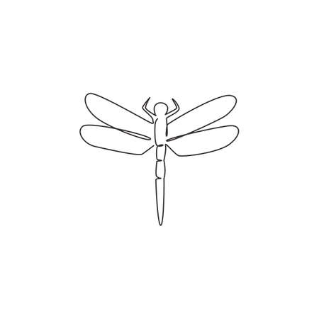 Single continuous line drawing of beauty dragonfly for company  identity. Flying insect mascot concept bug lover club for icon. Modern one line draw design vector illustration 矢量图像