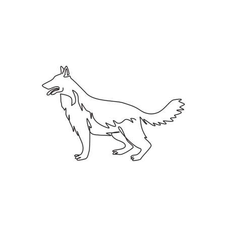 Single one line drawing of dashing german shepherd dog for company  identity. Purebred dog mascot concept for pedigree friendly pet icon. Modern continuous one line draw design vector illustration