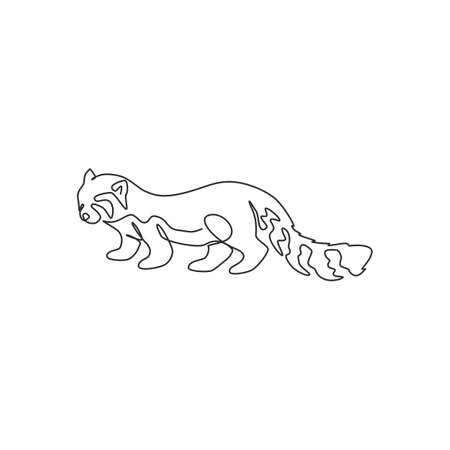 One single line drawing of adorable red panda for company  identity. Southwestern China red bear-cat mascot concept for national zoo icon. Modern continuous line draw design vector illustration