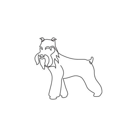 One continuous line drawing of miniature schnauzer dog for company identity. Purebred dog mascot concept for pedigree friendly pet icon. Modern single line draw design vector graphic illustration