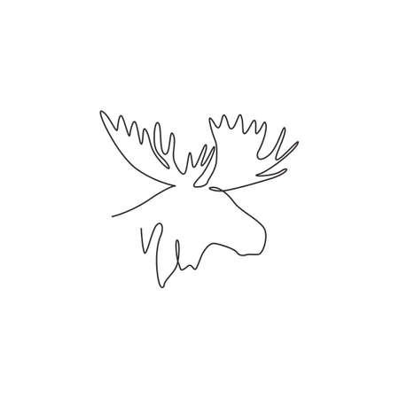 Single continuous line drawing of sturdy moose head for  identity. Buck animal mascot concept for national zoo icon. One line draw graphic design vector illustration