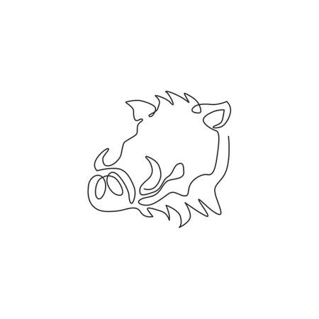 Single one line drawing of ruthless common warthog head for company  identity. Grassland Africa pig mascot concept for national zoo icon. Modern continuous line draw design vector illustration