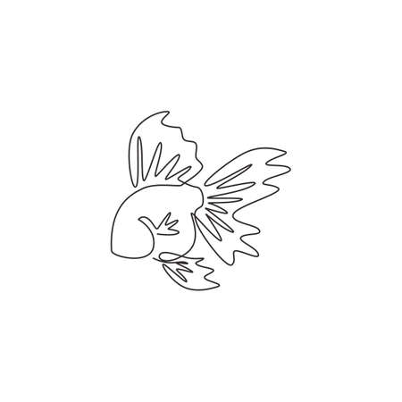 One single line drawing of adorable goldfish for company  identity. Domestic fish mascot concept for aquatic pet icon. Modern continuous line draw design graphic vector illustration