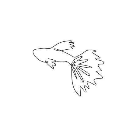 One single line drawing of adorable guppy fish for aquatic  identity. Rainbow fish mascot concept for fish lover club icon. Modern continuous line draw design graphic vector illustration