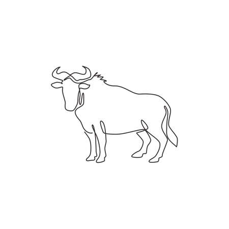 Single continuous line drawing of sturdy wildebeest for organisation  identity. Big gnu mascot concept for national safari park icon. Modern one line draw design vector graphic illustration
