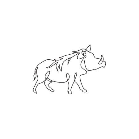 Single continuous line drawing of wild common warthog for company  identity. Saharan Africa pig mascot concept for national conservation park icon. Modern one line draw design vector illustration