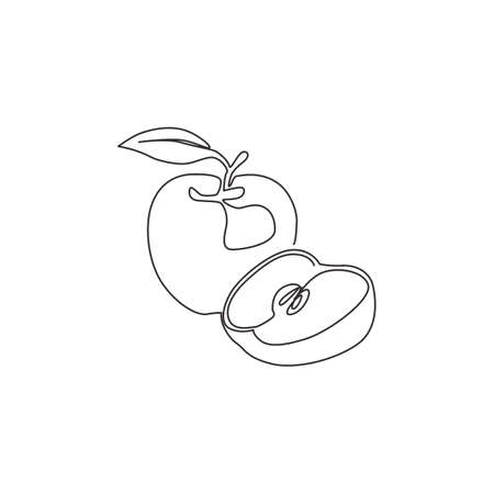 One continuous line drawing sliced and whole healthy apples organic for orchard. Fresh tropical fruitage concept for fruit garden icon. Modern single line draw graphic design vector illustration